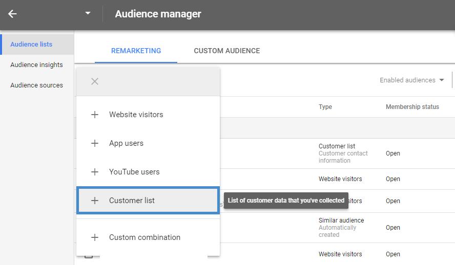 ขั้นตอนการ Upload Customer List
