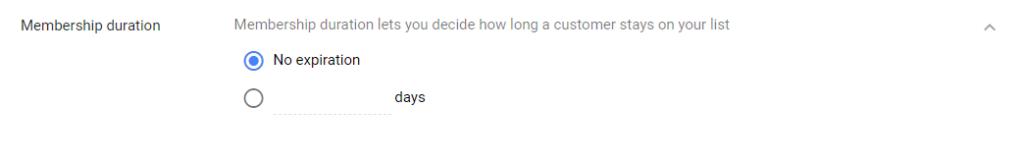 Google Customer List Membership Duration