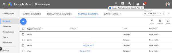 ทำ Google Adwords ด้วยตัวเอง   Negative Keywords