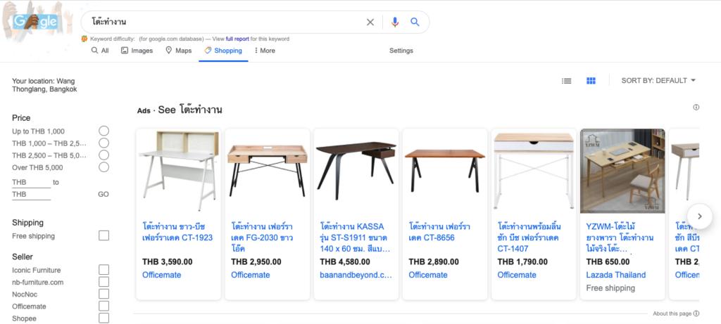 ราคาและพื้นที่ในการแสดงผล Google Shopping Ads